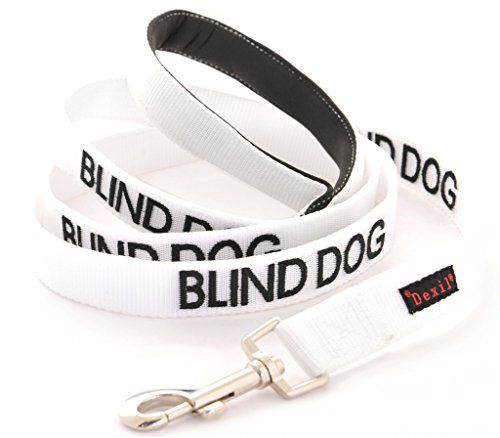 BLIND DOG White Color Coded Alert Warning 6 Foot Padded Dog Leash NoLimited Sight PREVENTS Accidents By Warning Others of Your Dog in Advance -- More info could be found at the image url.