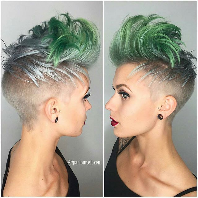 Silver, green women's undercut hair