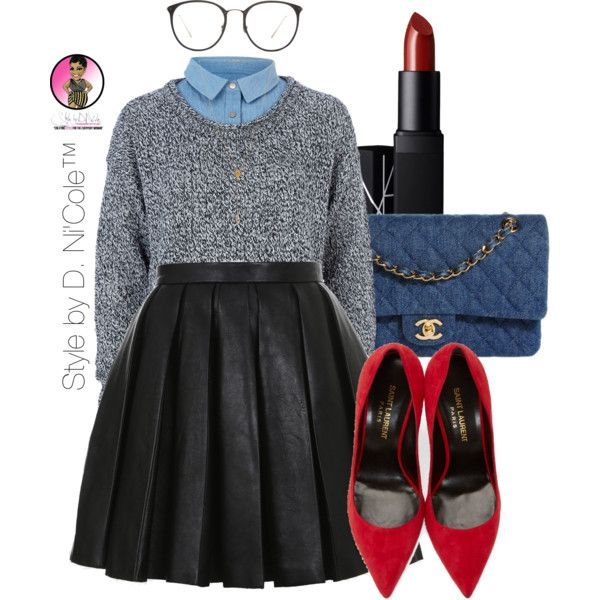 A fashion look from October 2015 featuring River Island sweaters, Balmain mini skirts and Yves Saint Laurent pumps. Browse and shop related looks.