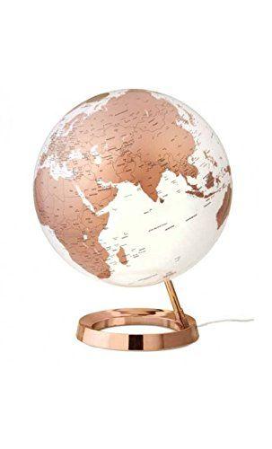 Globe terrestre lumineux design blanc cuivre sur socle couleur cuivre atmosphere http://www.amazon.fr/dp/B00TOO15T8/ref=cm_sw_r_pi_dp_C3JIwb0XCQHQ0