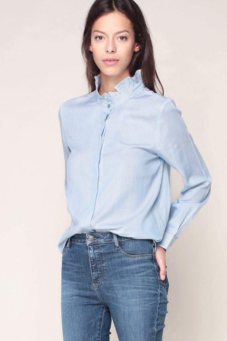 Chemise rayée bleu/blanc encolure volants Chanella - School Rag