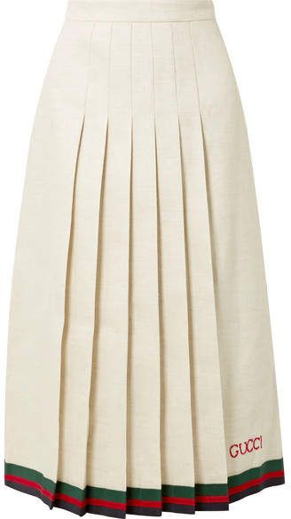 b7976a5be5 Gucci - Pleated embroidered linen and silk-blend midi skirt in 2019 ...