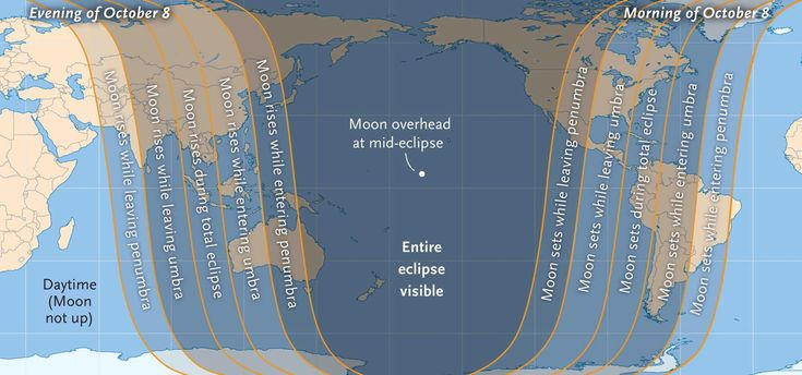 The map shows the visibility regions for the Oct. 8, 2014 total lunar eclipse, which is the second of four consecutive total eclipses of the moon between 2014 and 2015. Sky & Telescope Magazine released this viewing map.<br />