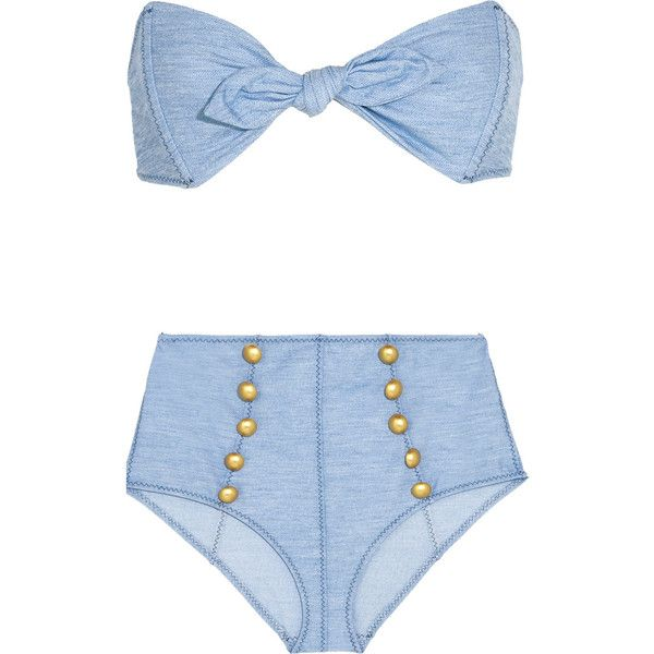 Lisa Marie Fernandez Poppy denim-effect bikini ($440) ❤ liked on Polyvore featuring swimwear, bikinis, lisa marie fernandez, blue, sailor bikini, bandeau tops, 2 piece bikini, high waisted two piece and highwaisted bikini