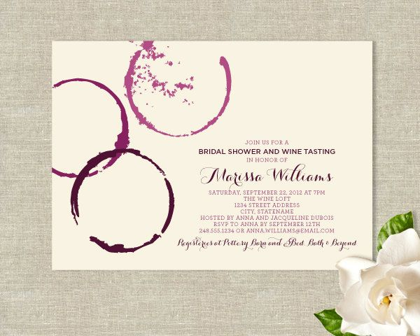 Wine Glass Stains Theme Bridal Shower Invitations   Modern Rustic Design.  $25.00,