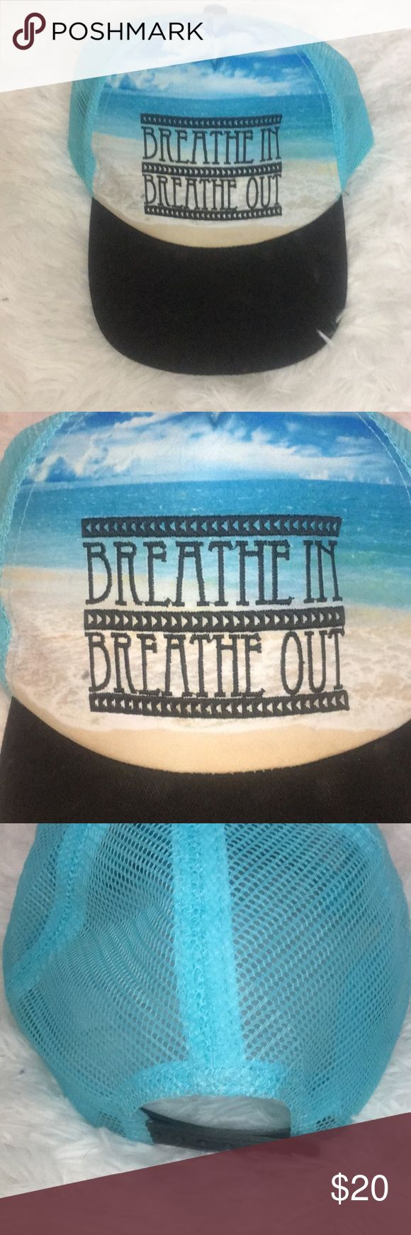 """Tumblr Hat Blue and black tumblr trucker styled hat It says """"Breathe in Breathe out"""" Has depiction of a beach in the background of the words Brand new hat never worn In perfect condition Accessories Hats"""