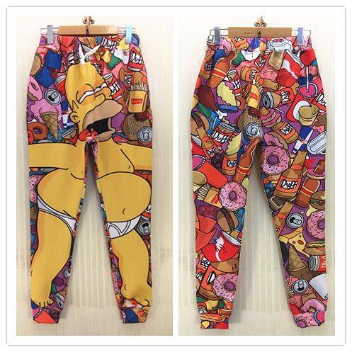 Дешевое Новый бегунов стиль горячей барт симпсон печать женщины человек мультфильм брюки длинные брюки хип хоп тощий бандана спортивная бесплатная доставка, Купить Качество Брюки и капри непосредственно из китайских фирмах-поставщиках:    Start173813126606174                Новые смайлики стиль 3D брюки смешной мультфильм                  $16.96