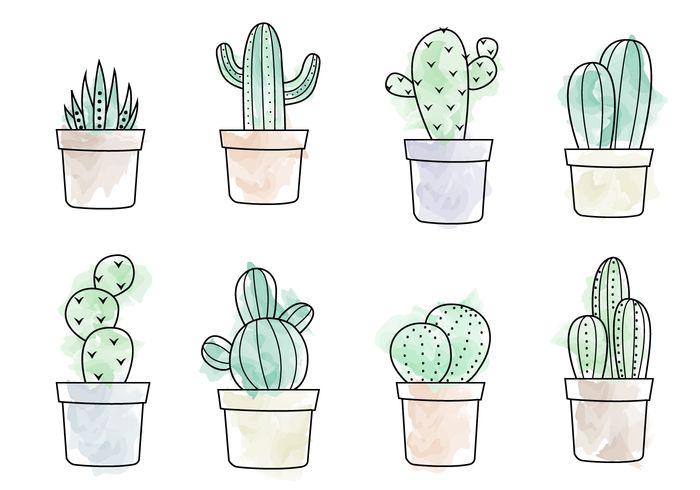 Free Watercolor Cactus Vector Más