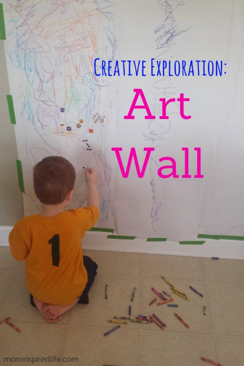 I like to provide opportunities for creative exploration and this preschool art wall is the perfect