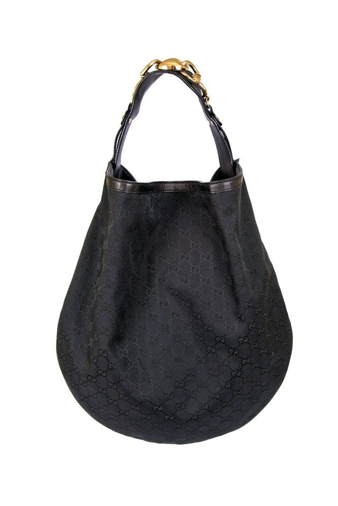 GUCCI GG Wave catena horsebit canvas hobo black Large   eBay