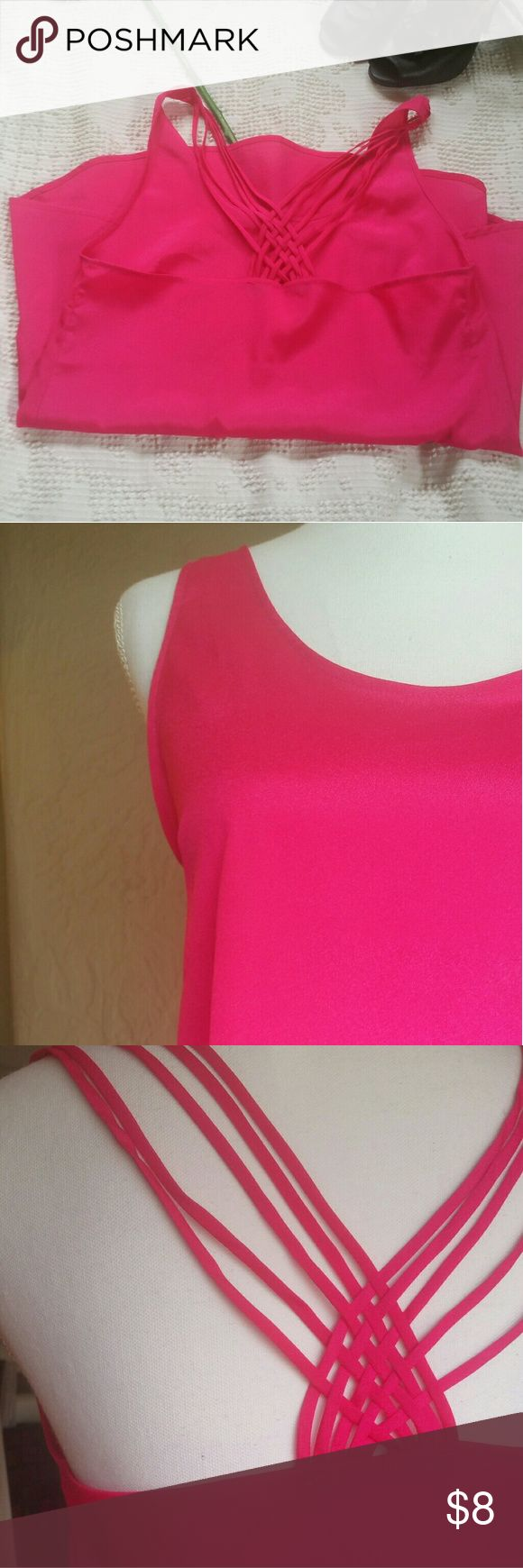 """Love J pink strappy top Beautiful, flowy tank top with gorgeous strappy detail in the back. High-low hem, bright pink color. In excellent used, like new condition.  Size small: 34"""" bust, 24"""" front length, 29"""" back length love J Tops Tank Tops"""