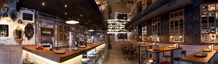 Imágenes del mobiliario en el proyecto de interiorismo del restaurante Farándula