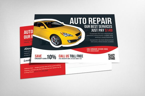 Auto Service Postcard Template by Business Templates on Creative Market