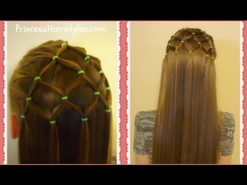 "Elastic ""Tree"" Netting Hairstyle How to Video Tutorial by Princess Hairstyles.  Christmas hairstyle idea for girls."