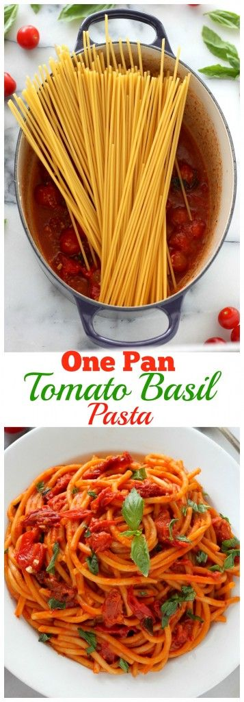 One Pan Tomato Basil Pasta - This is one of the best pastas I've ever eaten! So flavorful, healthy, and EASY!!!