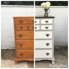 http://www.alittlespruce.com/  58 Year Old Maple Dresser Makeover! Americana Deco Chalk Paint and a dark walnut stain on top. Original drawer pulls cleaned with apple cider vinegar.