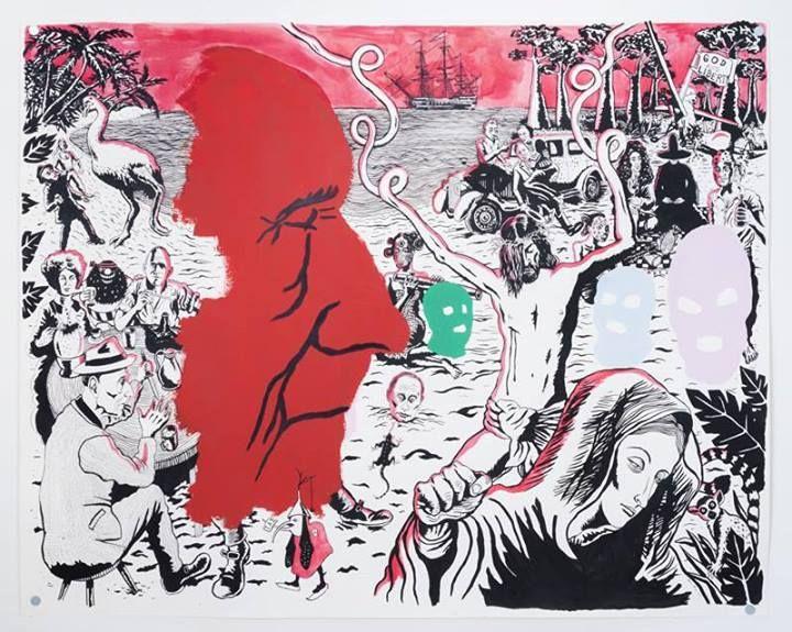 Sneak peek_03 Neal Fox, Libertalia 2013, Tusche und Gouache auf Papier Ink and gouache on paper, 122 x 152 cm