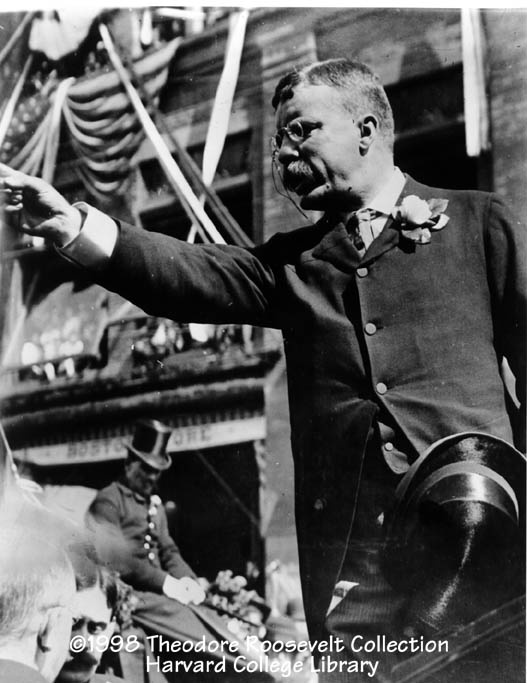 When President McKinley was shot at the Pan American Exhibition in Buffalo, NY in 1901, Theodore Roosevelt became the youngest person ever to become President. He was only 42.  As President, he continued to be a very visible and traveled leader shown here on a New England tour in 1902.