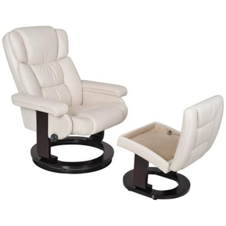serta ivory and espresso recliner and storage ottoman