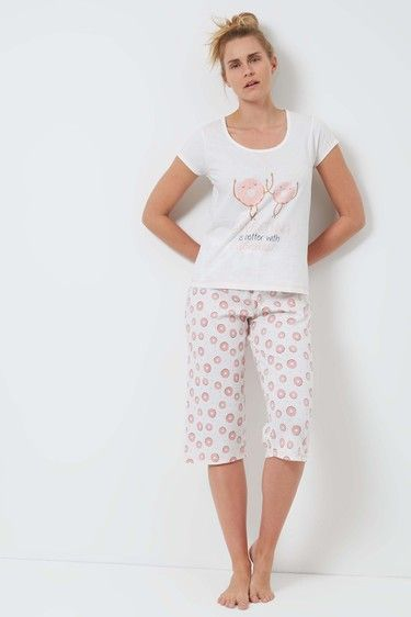 White Doughnut Cotton Jersey Pyjama Set