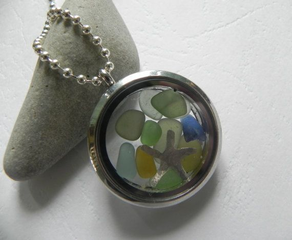 Genuine Sea Glass in a Memory Locket Necklace by AnnieByDesignAus, $18.00