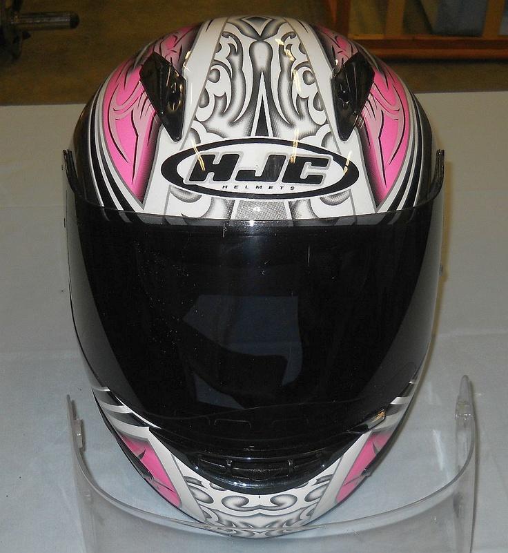 Women's HJC Motorcycle Helmet  (Ladies Used Streetbike Helmets, Pink, White & Black)