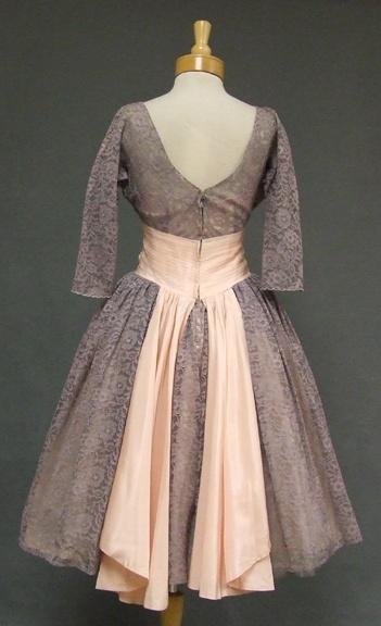 Lace 1950's cocktail dress - Back View  http://www.vintageous.com/dressy.htm