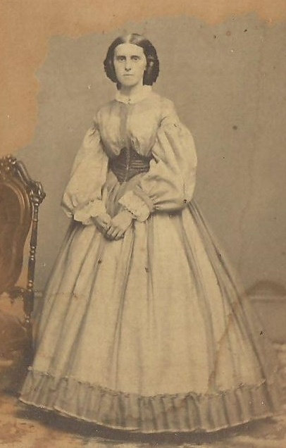 1860's Lovely sheer dress with belt; CDV civil war era fashion