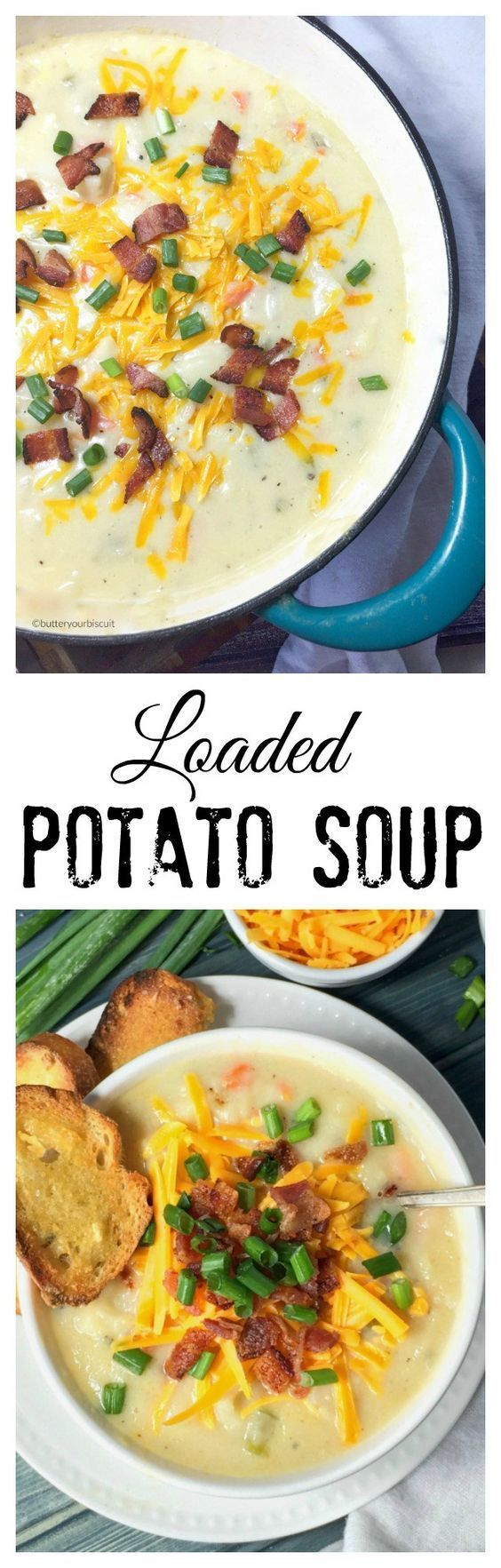 This loaded potato soup recipe is thick and creamy and full of flavor.