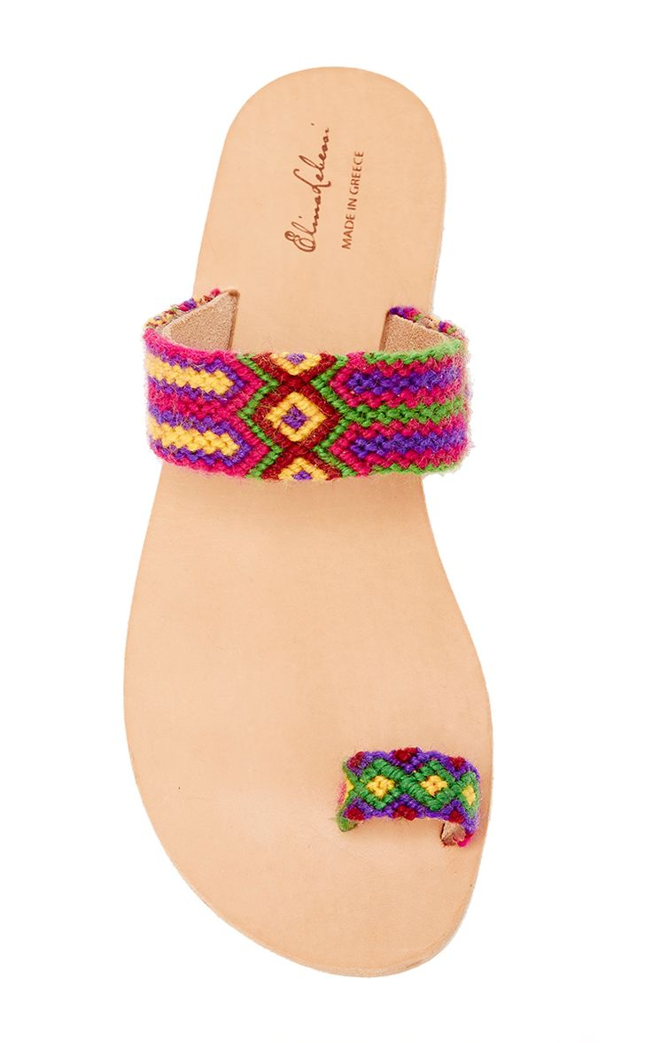 Leather & Cotton Daphne In Pink Sandal by ELINA LEBESSI for Preorder on Moda Operandi