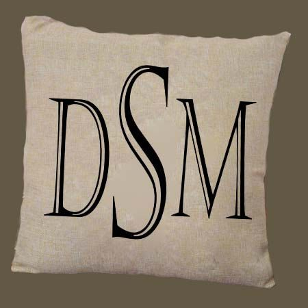 Black Initials Castellar Font on Beige Pillow Cover by PillowRiot on Etsy