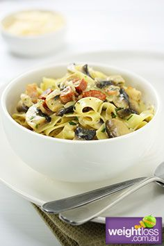 High Protein Recipes: Fettuccine Boscaiola Recipe. #HealthyRecipes #DietRecipes #WeightlossRecipes weightloss.com.au