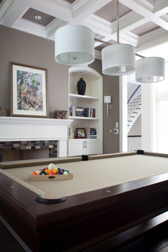 5 outstanding billiard room designs home decor like the cove ceiling and contrast trim ti wall - Home interior wall color contrast ...