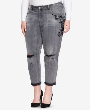 Jessica Simpson Trendy Plus Size Mika Ripped Jeans - Black 16W