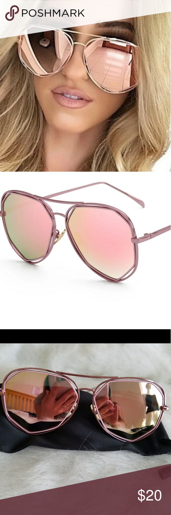 Pink mirrored sunnies Pink mirrored sunnies have Alloy frame. Anti UV, UV400, mirror lenses. Pink frame. Comes with soft carry pouch. (See other listing for same style in black) Accessories Sunglasses
