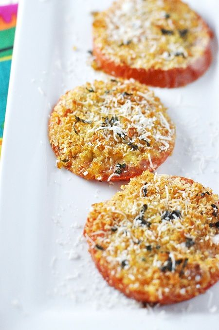 Easy Baked Cheesy Garlic Bread - Make it #glutenfree by using the tomato as the bread! (Oh and use GF bread crumbs)   :)