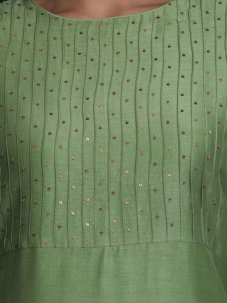 Green Chanderi Kurta