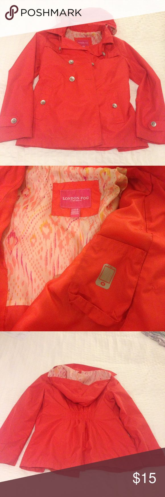 London Fog Rain Jacket Coral red in color. Size Youth Large but listed as XS since it fits women too! Very cute interior and hood pattern. The hood is removable and there is even a phone/iPod pocket inside. Not interested in trading but happy to answer questions! London Fog Jackets & Coats
