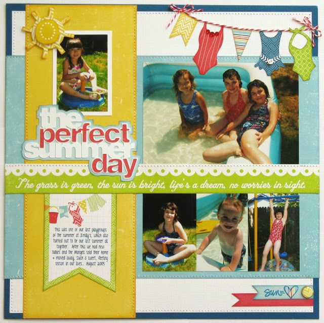 """An Echo Park """"A Perfect Summer"""" layout by Mendi Yoshikawa using papers and cutting files designed by Lori Whitlock."""