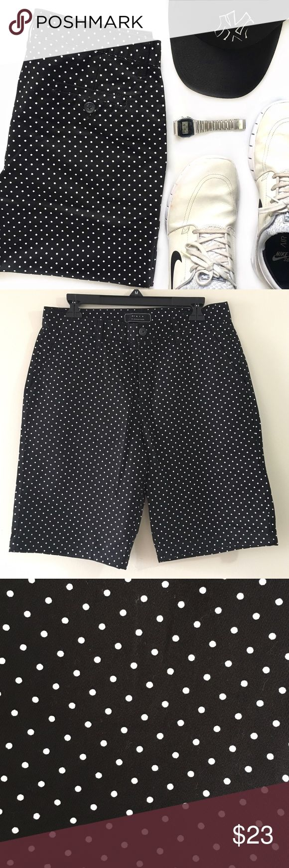 """NWT Black Polka Dot Bermuda Shorts NWT. Two front pockets and two back button pockets. Button and zipper closure. Belt loops. 100% cotton. Length: 21"""" Inseam: 10.25"""" 21men Shorts Cargo"""