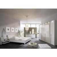 Schlafzimmer mit Bett 180 x 200 cm cappuccino hochglanz/ weiss Woody 125-00017