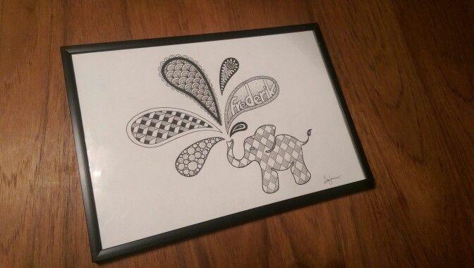 Zendoodle elephant - A4