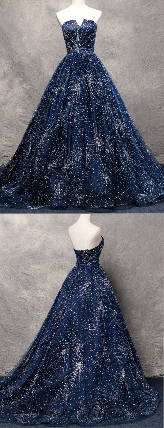 Amazing A-Line Strapless Sweep Train Navy Blue Organza Prom Dress by ainiprom, $188.60 U…