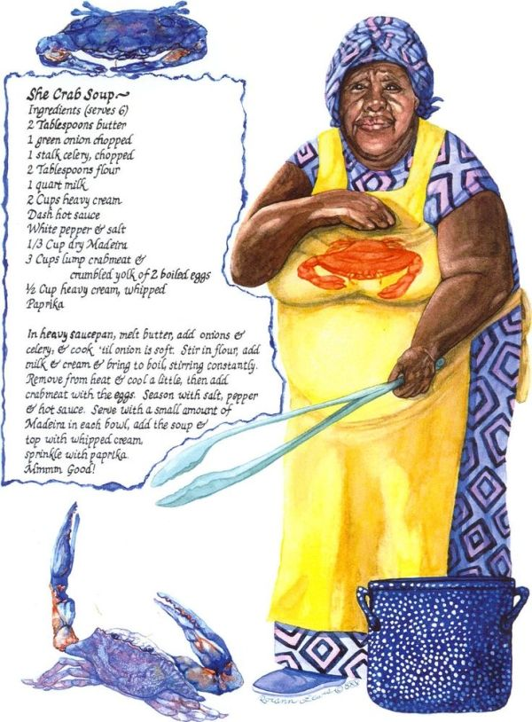 "She-Crab Soup Recipe ~ [A mainstay of the Gullah diet is blue crab, and it is from Gullah that the word for the female crab, ""she-crab,"" comes. Charleston is internationally famous for its she-crab soup, a crab bisque made with orange roe found in female crabs.]"