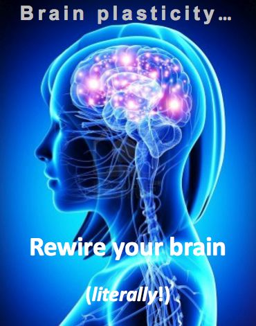Retrain your brain. Neuroplasticity. How actively changing the way you think, can build new neural pathways for good. Distorted, irrational thought processes & CBT