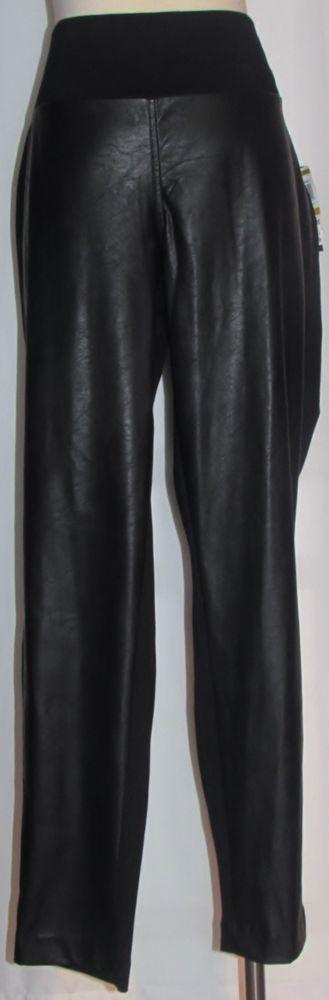 NEW Womens Ladies Plus MACY'S INC Black Faux Leather & Stretch Blend Pants 16W #INCInternationalConcepts #Versatile