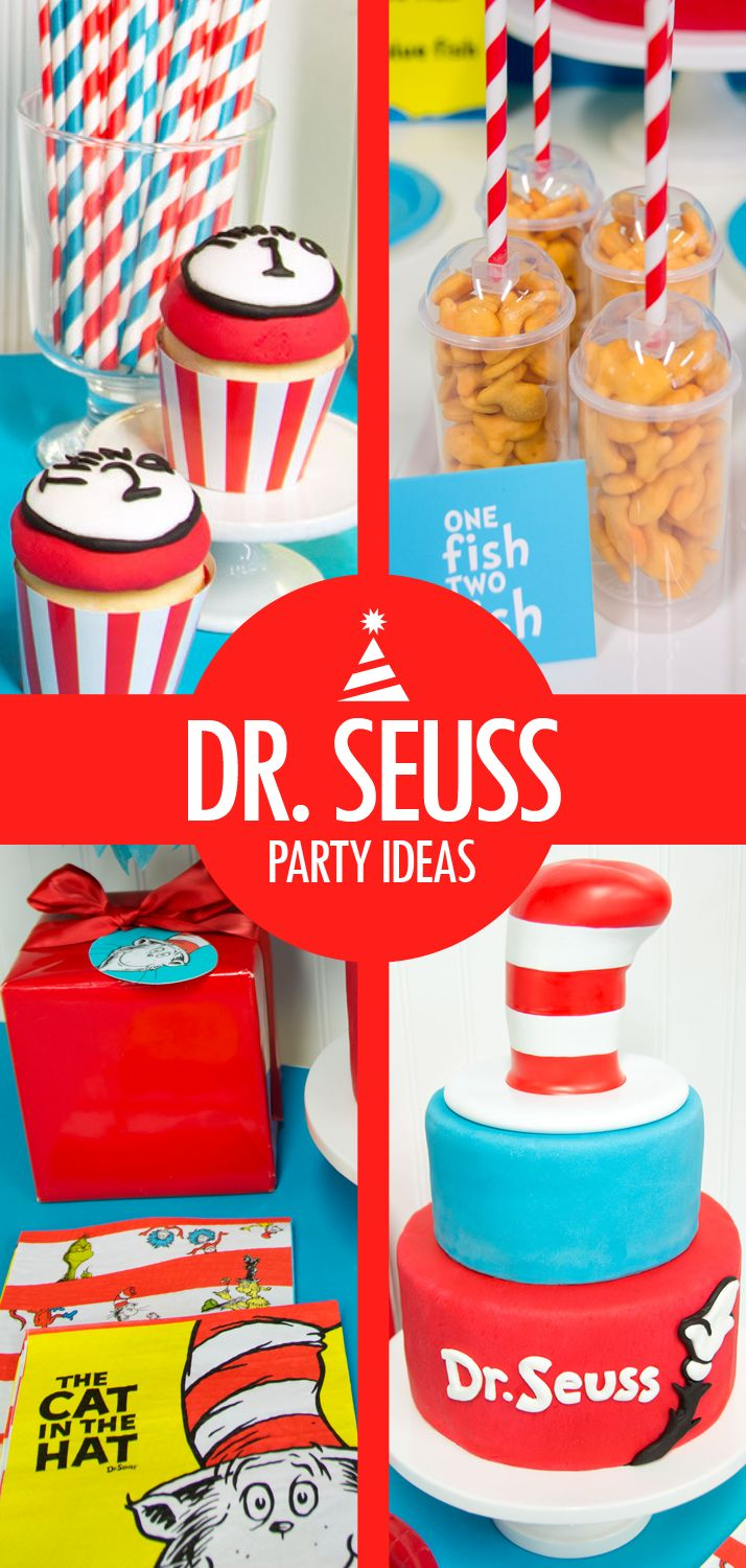 Every child loves Dr. Seuss, and Dr. Seuss party ideas are great for birthdays! Complement red and blue Dr. Seuss party supplies with a cute Dr. Seuss birthday cake – fondant shapes and the Cat in the Hat's hat on top are two perfect cake decorating ideas. You can decorate Dr. Seuss cupcakes to look like Thing 1 and Thing 2 as well, and goldfish crackers (One Fish, Two Fish…) make great appetizers. Get more ideas on how to celebrate your birthday with Dr. Seuss party ideas on Birthday…