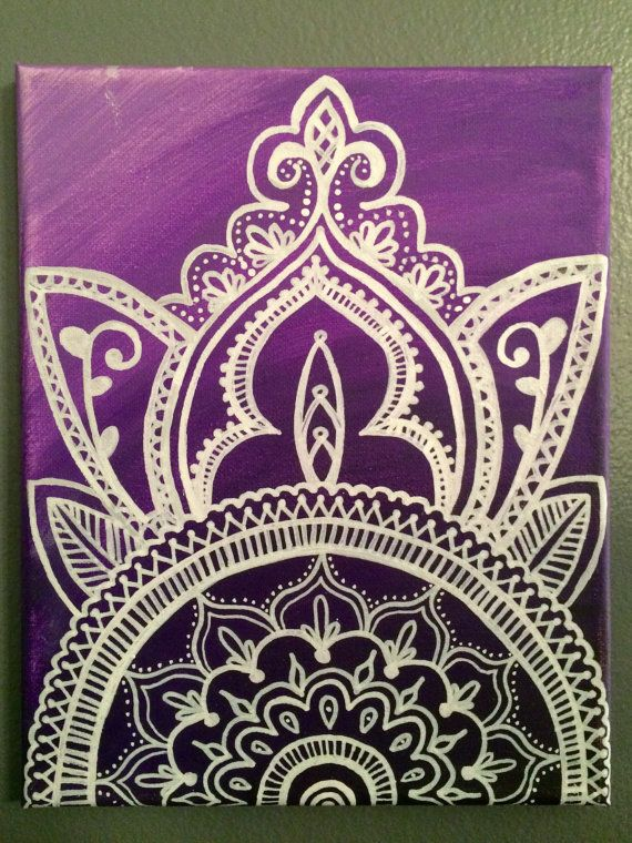 Handpainted Henna Style Canvas Painting Purple by ArtsyFartzee