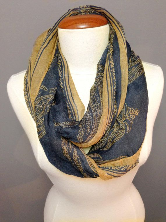 Navy BlueBrown Scarf/Women Accessories by Knitkozi, $20.00  For more selection of these beautiful scarves visit: https://www.etsy.com/ca/shop/Knitkozi?ref=si_shop