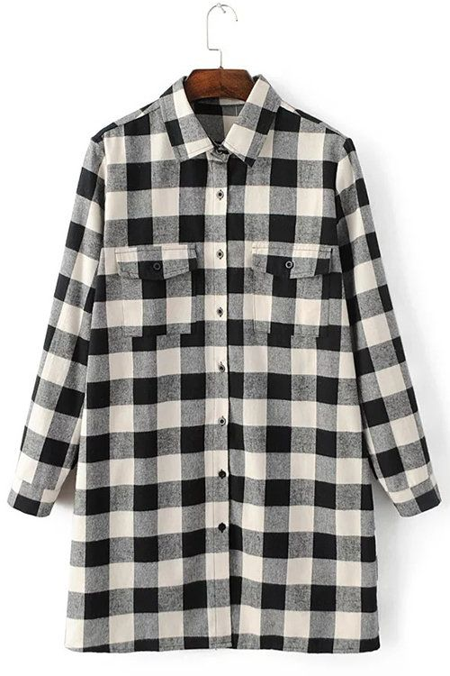 You'll look effortlessly chic in this stylish button-down shirt. It can be paired with jeans and heels for a smart casual office attire. This shirt dress features classic collar, front buttons, two chest pockets and grid pattern.